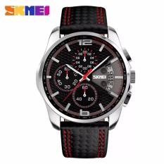 Skmei Jam Tangan Pria Sports Watches S Quartz Hour Date Clock Leather Strap Waterproof Wristwatch 9106 Black Red Murah