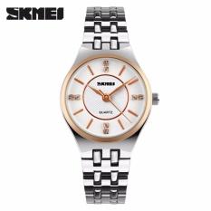 SKMEI Timeless Putih Emas - Jam Tangan Wanita - Rantai Stainless Steel - 1133 Kasual White Gold + Free Box Jam Tangan Flash