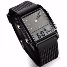 SKMEI Trendy Men Sport LED Dual Time Watch 0814D1 Water Resistant Anti Air WR50m Jam Tangan