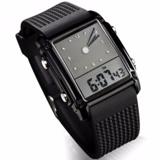 Spesifikasi Skmei Trendy Men Sport Led Dual Time Watch Water Resistant Anti Air Wr50M 0814G Jam Tangan Pria Square Tali Strap Karet Digital Analog Wristwatch Fashion Stylish Design Hitam Beserta Harganya