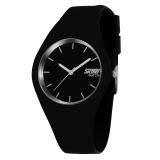 Jual Skmei Unisex Pecinta Waterproof Silicone Strap Wrist Watch Hitam Putih 9068 Branded