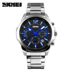 Spesifikasi Skmei Vision Hitam Silver Jam Tangan Pria Rantai Stainless Steel 9108 Executive Black Silver Free Box Jam Tangan Flash Terbaru