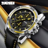Model Skmei Watch Men Chronograph Auto Date Waterproof High Quality Analog Quartz Men S Soft Real Leather Strap Watches Casual Men S Wristwatches 9156 Intl Terbaru