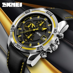 Diskon Skmei Watch Men Chronograph Auto Date Waterproof High Quality Analog Quartz Men S Soft Real Leather Strap Watches Casual Men S Wristwatches 9156 Intl Skmei Di Tiongkok