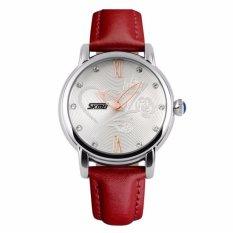 SKMEI Waterproof Luxury Women QUARTZ Arloji Otomatis Camellia Jam Kulit Fashion Datejust Ladies Watch Top Quality (Red2) -Intl