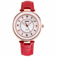 SKMEI Tahan Air WATCH Fashion Wanita QUARTZ Arloji Otomatis Clock Wanita Datejust Leather Watch Keramik Kualitas Terbaik (Red1) -Intl