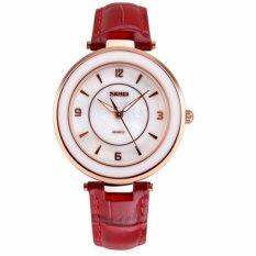 SKMEI Tahan Air WATCH Fashion Wanita QUARTZ Arloji Otomatis Clock Wanita Datejust Leather Watch Keramik Kualitas Terbaik (Red2) -Intl