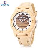 Toko Skone 9426B Pria Quartz Watch Wooden Case Tanggal Display Leather Band 3Atm Jam Tangan Intl Online Di Tiongkok