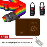 Harga Skytop Paket Traveling Cover Passport Gembok Koper Password Tali Koper Password Free Nametag Koper Aluminium Metal 5 Item Yang Bagus