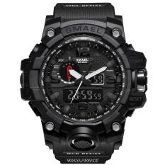 SMAEL Merek Watch 1545 Pria Jam Tangan Gaya Baru Merek Pria LED Digital Kuarsa Watch Tahan Air Semua Hitam Militer Olahraga Pria Clock Relogio Masculino-Intl