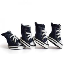 Small Pet 4PCS/Set Anti-slip Fashionable Puppy Dog Walking Shoes (Dark Blue 1) - intl