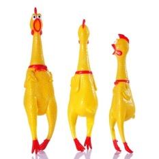 Kecil Ukuran 17 Cm Kuning Mini Screaming Rubber Chicken PET DogloveToy Squeak Squeaker Chew Hadiah-Intl