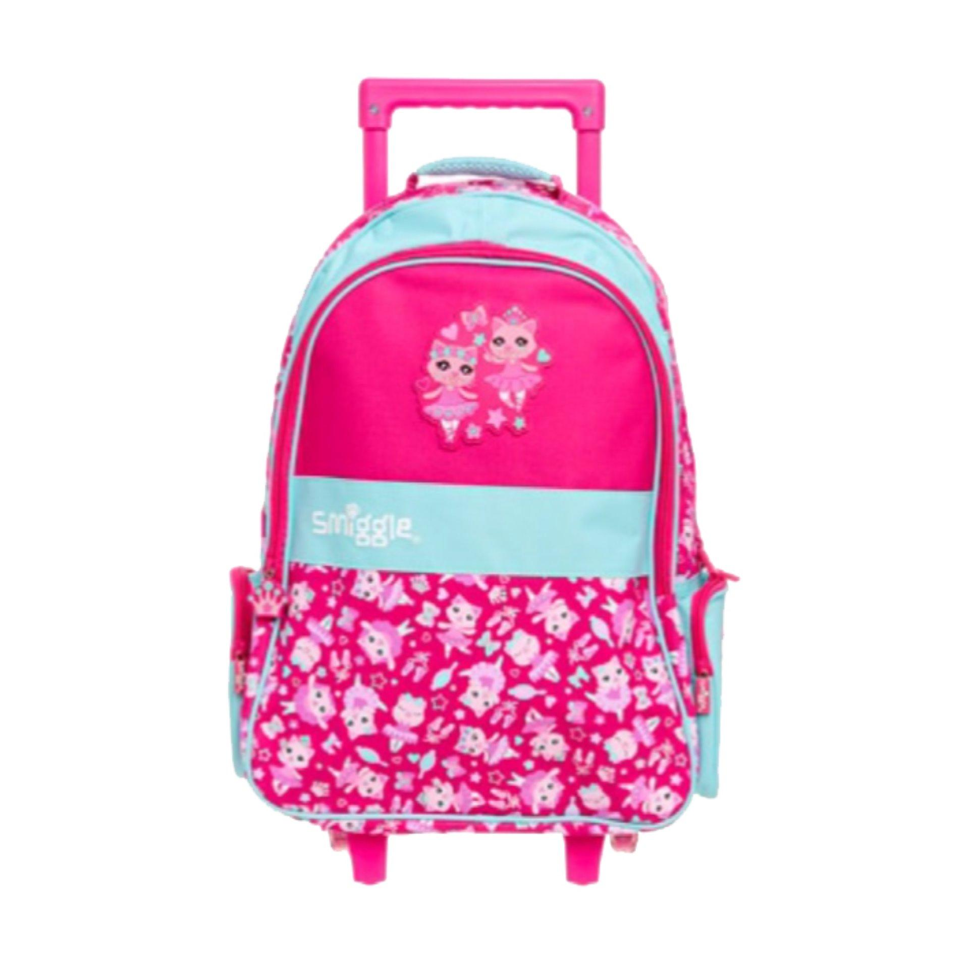 IMPORT FROM SINGAPORE Karakter unik. JARANG ADA YANG PUNYA Smiggle Light Swish Trolley Backpack - PINK CAT