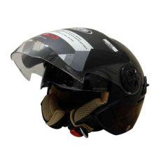 Beli Snail Helm Half Face Retro 622 Double Visor Mika Helm Panjang Hitam Clear Yang Bagus
