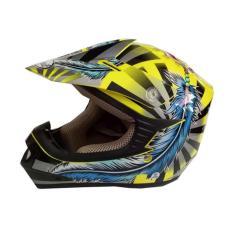 Diskon Snail Helmet Motocross Youth Anak Mx306 Motif Indian Kuning Biru Clear Akhir Tahun