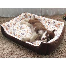 Lembut Breed Dog Bed Kennel Mat Sofa Kandang Hewan Peliharaan Kucing Anjing Bed House Cuci Plush Sarang Hewan Nyaman Selimut Anjing Cushion (L- Beige) 80X65x15 Cm-Intl