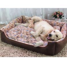 Lembut Breed Dog Bed Kennel Mat Sofa Kandang Hewan Peliharaan Kucing Anjing Bed House Cuci Plush Sarang Hewan Nyaman Selimut Anjing Cushion (S- Kopi) 60x45x15 Cm-Intl