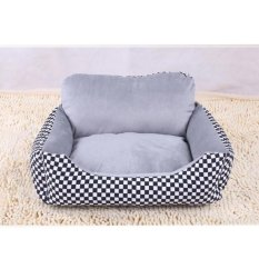 Soft Dog Bed Kennel Sarang Sofa Rumah Pet Kucing Anjing Bed House Cuci Plush Cozy Nest Dog Blanket Cushion (m-Hitam) 70X50X21 Cm-Intl