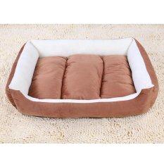 Soft Dog Bed Kennel Sarang Sofa Rumah Pet Kucing Anjing Bed House Cuci Plush Cozy Nest Dog Blanket Cushion (s-Kopi) 50X40X12 Cm-Int'l-Intl