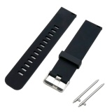 Promo Soft Silicone Solid Color Adjustable Replacement Watchband Quick Release Needle Buckle Watch Band Metal Clasp Wrist Band Strap For 20Mm Men Women Watch Accessary Black Intl Di Tiongkok