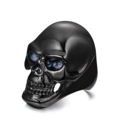 Sohoku Cincin Punk Stainless Black Skull Ukuran 8