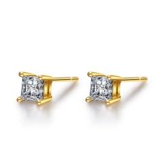 Solid 925 Perak Berkilau Anting-Anting Solitaire CZ Diamond Gold Warna Anting Persegi untuk Wanita-Intl