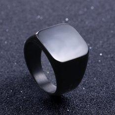 Solid Stainless Steel Ring Band Titanium Pria Pernikahan Perhiasan Cincin-US Ukuran 7-hitam