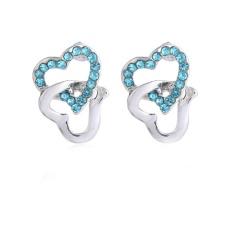 Korea Selatan Austria Kristal Anting-Anting Perhiasan Jual Manis Jantung Anting-Anting-048 Ganda Simpul-Internasional