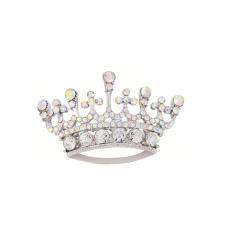 Fashion Korea Selatan Ratu mahkota Tiara Diamante berlian imitasi Pin bros perak - International
