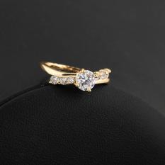 Kemilau Perhiasan Cincin Zirkon Diamante Jari 18 KB Emas Fil AS #8