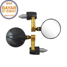 Spion Jalu Unuk Motor Universal Kaca Bulat - Kaca Kebiruan - Gold