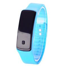 Olahraga LED Tali Pengikat Karet Silikon Layar Sentuh Jam Tangan Gelang Digital (Biru Langit)