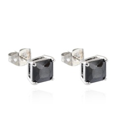 Square Zirkon Giwang Beberapa Cincin Crystal Earrings (Platinum Zirkon Hitam)-Intl