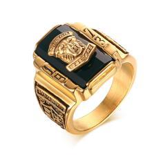 Stainless Steel Hitam Berlian Buatan 1973 Walton Tigers Signet Ring untuk Pria, 18 K Berlapis Emas Ukuran 7-11-Intl