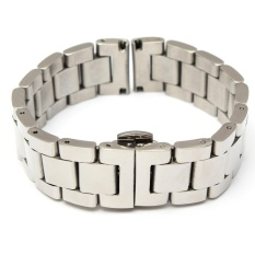 Promo Stainless Steel Gelang Tali Jam Dua Clasp Solid Links Silver 20Mm Intl Not Specified