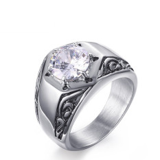 Stainless Steel Clear-Zircon Western-style Ring untuk Pria Bagus untuk Hadiah-Intl