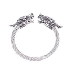 Stainless Steel Gelang Naga untuk Pria Perhiasan dengan Twisted Kabel Bangle Mens Aksesoris Gelang Silver-Intl