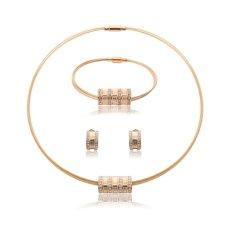 Stainless Steel Anting Kalung Rantai Gelang 4 Pcs Set untuk Wanita Sederhana Seksi Perhiasan Berlapis Emas Crysta Bridal Diamond Berlian Imitasi