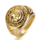 Ulasan Stainless Steel Hip Hop Ring Lion Ring Pria Titanium Steel Cincin