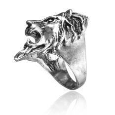 Stainless Steel Kepala Singa Cincin Pria Cincin Keren Amerika Vintage Ukuran 8-11 Fe Perak 10