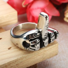 Stainless Steel Men Punk Jari Tengah Silver Motorcycle Biker Perhiasan Cincin 8 #-Intl