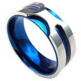 Jual Perhiasan Cincin Antikarat Berdiameter 8 Milimeter Warna Biru And Perak Khusus Untuk Pria Import