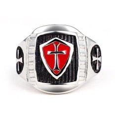 Stainless Steel Red-Shield Cross, Foto Gratis Cincin For Pria Bagus For Hadiah