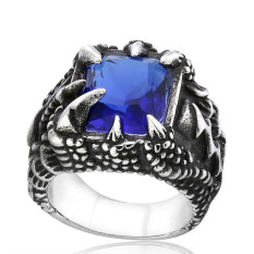 Jual Stainless Steel Ring Pria Gothic Punk Dragon Claw Square Cubic Zirkonia Blue Silver Oem Asli