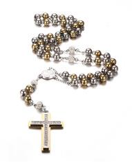 Baja Tahan Karat Rantai Panjang Rosario Kalung Salib Katolik, Emas And Perak