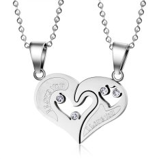 Harga Stainless Steel White Love Heart Puzzle Cz Valentine Couple Pendant Necklace Terukir I Love You Yang Murah Dan Bagus