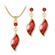 Bintang Mall Antik Gold Berlapis Kristal Perhiasan Daun Set Berwarna Minyak Lukisan Pola Liontin Kalung &