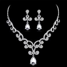 Bintang Mall Wanita Wanita Perhiasan Mengatur Modis Tajam Berlian Buatan Liontin Kalung + Anting untuk Pernikahan Hari Valentine Hadiah internasional