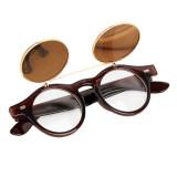 Ongkos Kirim Steampunk Goth Goggles Kacamata Retro Kacamata Bulat Bersandal Ke Brown Di Hong Kong Sar Tiongkok