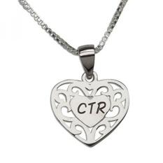 Sterling Silver CTR Heart Necklace untuk Anak Perempuan Baptisan (14 Inch)-Intl